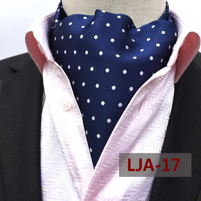 Blue White Silk Blend Cravat Ascot Tie and Pocket Square Set