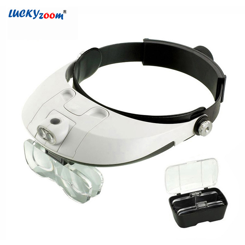 Luckyzoom Adjustable Headband Glasses Magnifier 2 Detachable LED Illuminated Magnifier Loupe Reading Repairing Magnifying Glass