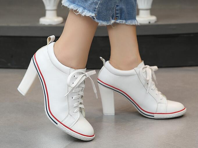 8 style Boots 2019 New Women's Shoes High heels 6-8cm Female Pumps Lady's Boots Ankle Lace-Up Thick heel  Thin Heels Shoes Size