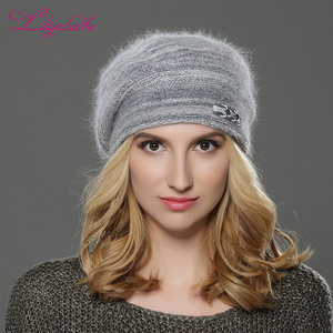 Image 2 - LILIYABAIHE  NEW winter Women beret hat knitted wool angora beret  patchwork stylish Trendy  decoration cap Double warm hat