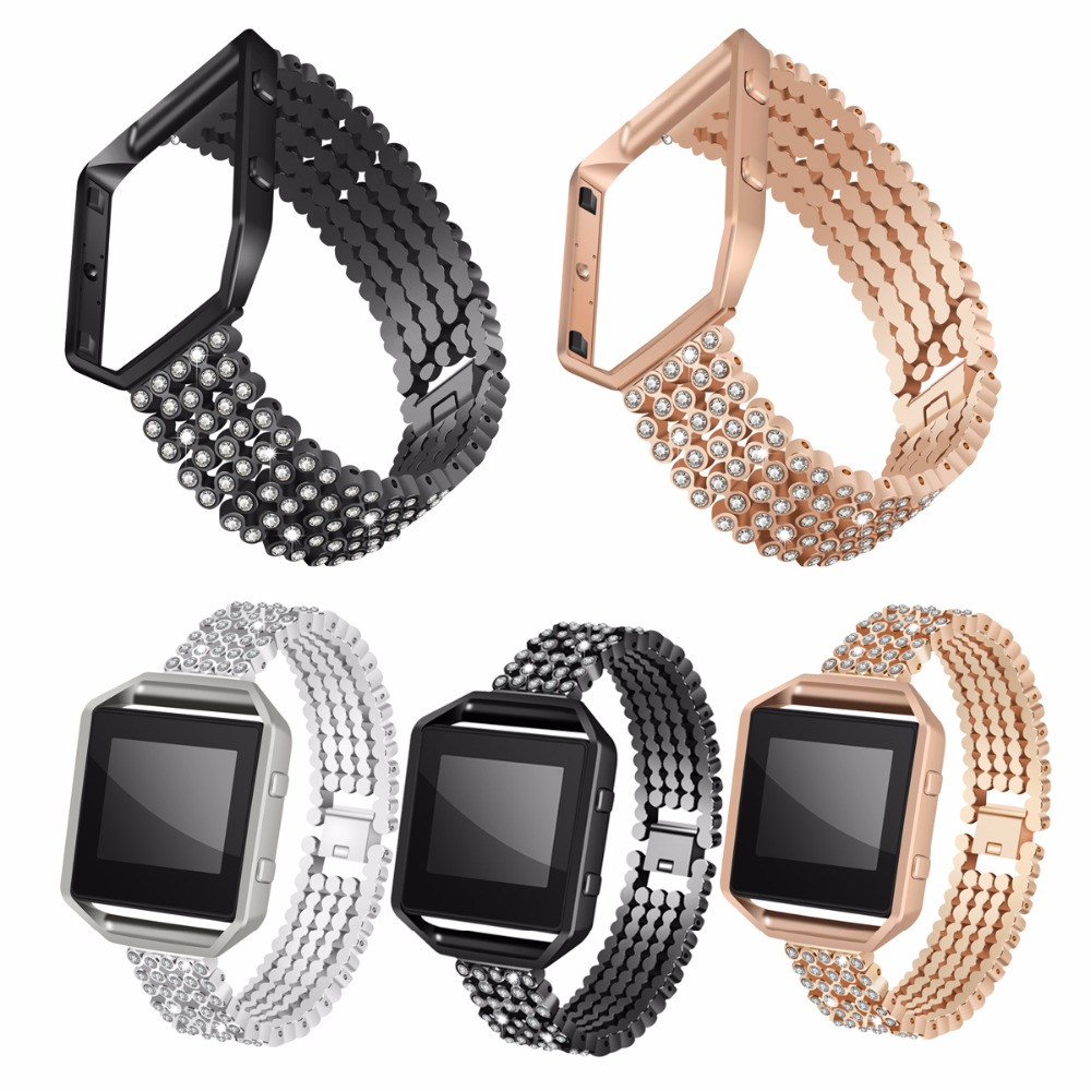 For Fitbit Blaze Bands Metal Bands With Rhinestone Stainless Steel Frame Replacement Accessory Bracelet Silver Rose Gold Black carlywet 23mm black 316l stainless steel replacement watch strap belt bracelet with case metal frame for fitbit blaze 23 watch