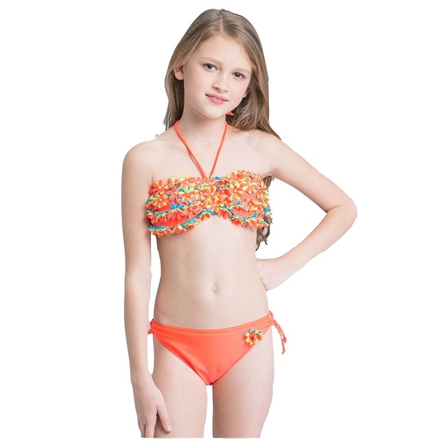 7aa10a0af4b08 2018 Girl Kids Halter Bandeau Bikini Set Swimsuit Beach Wear Swimwear Swim  Bathing Suit Children Sexy Bather Pool Teens Tanga. 2 orders