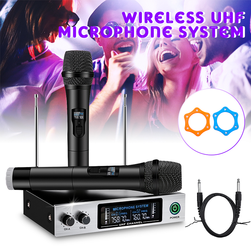 Handheld Microphone UHF Frequencies Dynamic Capsule 2 channels Wireless Microphone LED Display System for Karaoke home party professional karaoke wireless microphone system 2 channels led display receiver cordless handheld mike for mixer stage computer
