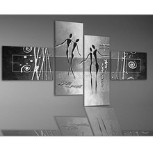 Hand Painted Modern Abstract Home Decoration Wall Art 4 Piece Set silver grey Canvas Oil Painting picture