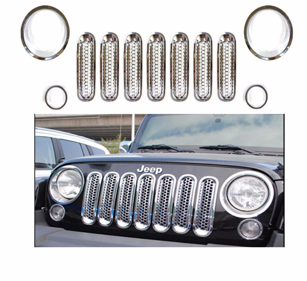 ФОТО 11pcfor Silver Front Mesh Grill Grille Insert  Headlight Cover Trim For Jeep Wrangler
