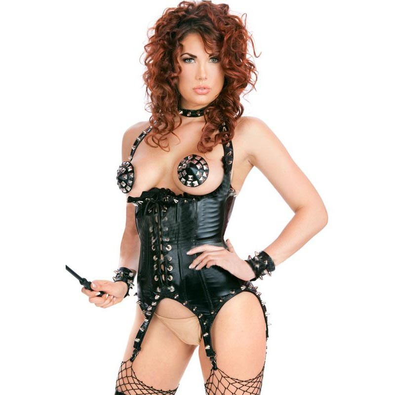 M-XL Erotic Underwear Steampunk Clothing Gothic Women Underbust   Corset   Sexy Black Faux Leather   Corsets   And   Bustiers   With Rivets