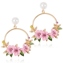Handmade Colorful Earrings Bohemian Flower Shape Gold Round  Earrings for Women Rhinestone Resin White Pearl Jewelry a suit of elegant faux gem white gold plating alloy flower shape necklace and earrings for women