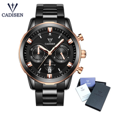 цена C9011 CADISEN three-dimensional three - eye multi - function quartz watch waterproof hand luminous calendar timing men's watch онлайн в 2017 году