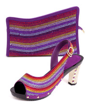Purple color shoes matching bag with African lady wedding,shoes and bag with beads,fashion design for shoes and bag!!!HFS1-27