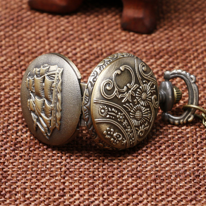 small size Sailing Boat design vintage pocket watch women men gift pendand hours P913