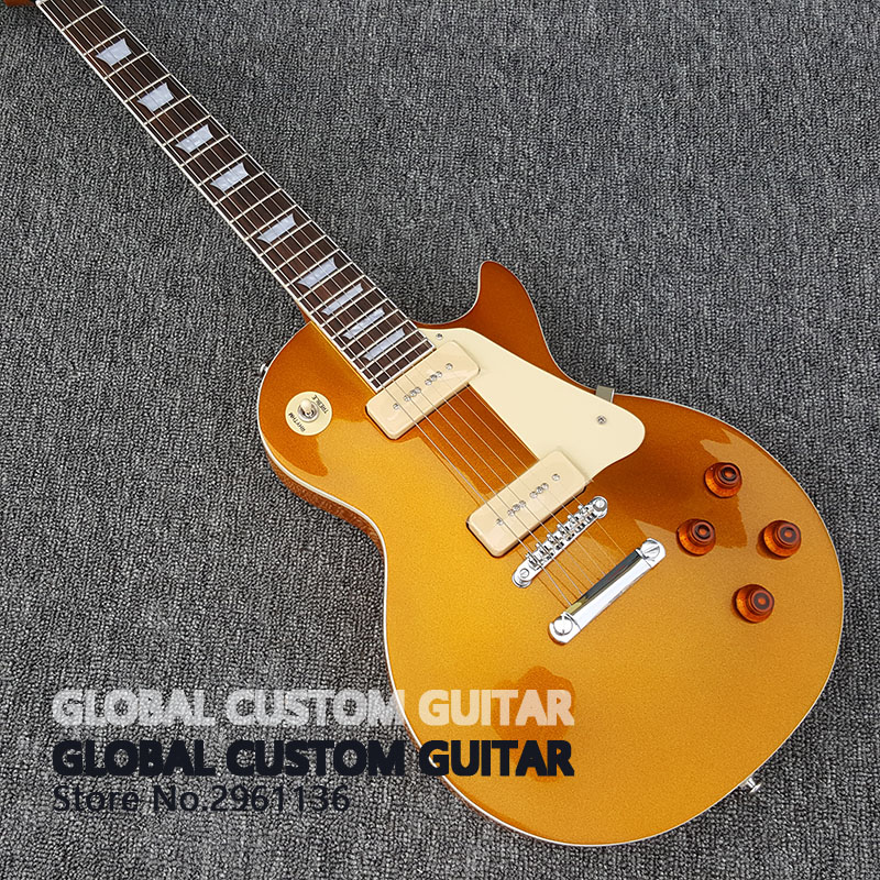 High quality Standard LP electric guitar Gold and silver powder Wholesale Custom shop Free shipping best price of the white lp standard electric guitar china with bigsby rosewood fretboard guitar free shipping