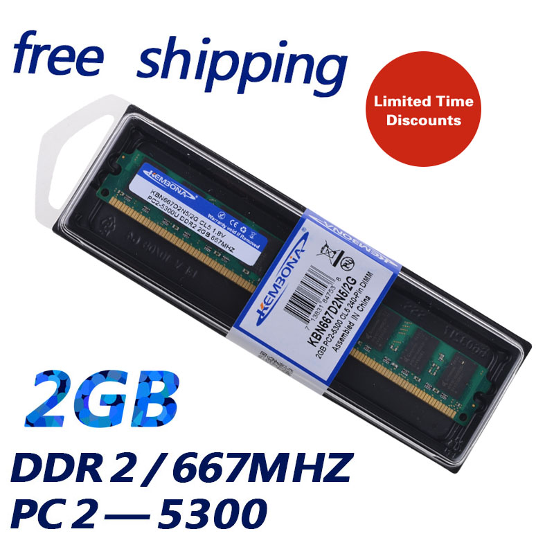 KEMBONA Brand New Sealed DESKTOP PC RAM DDR2 2 GB 2G 667 Mhz PC2 5300 für alle motherboard Ram-speicher/Freies Verschiffen!!!