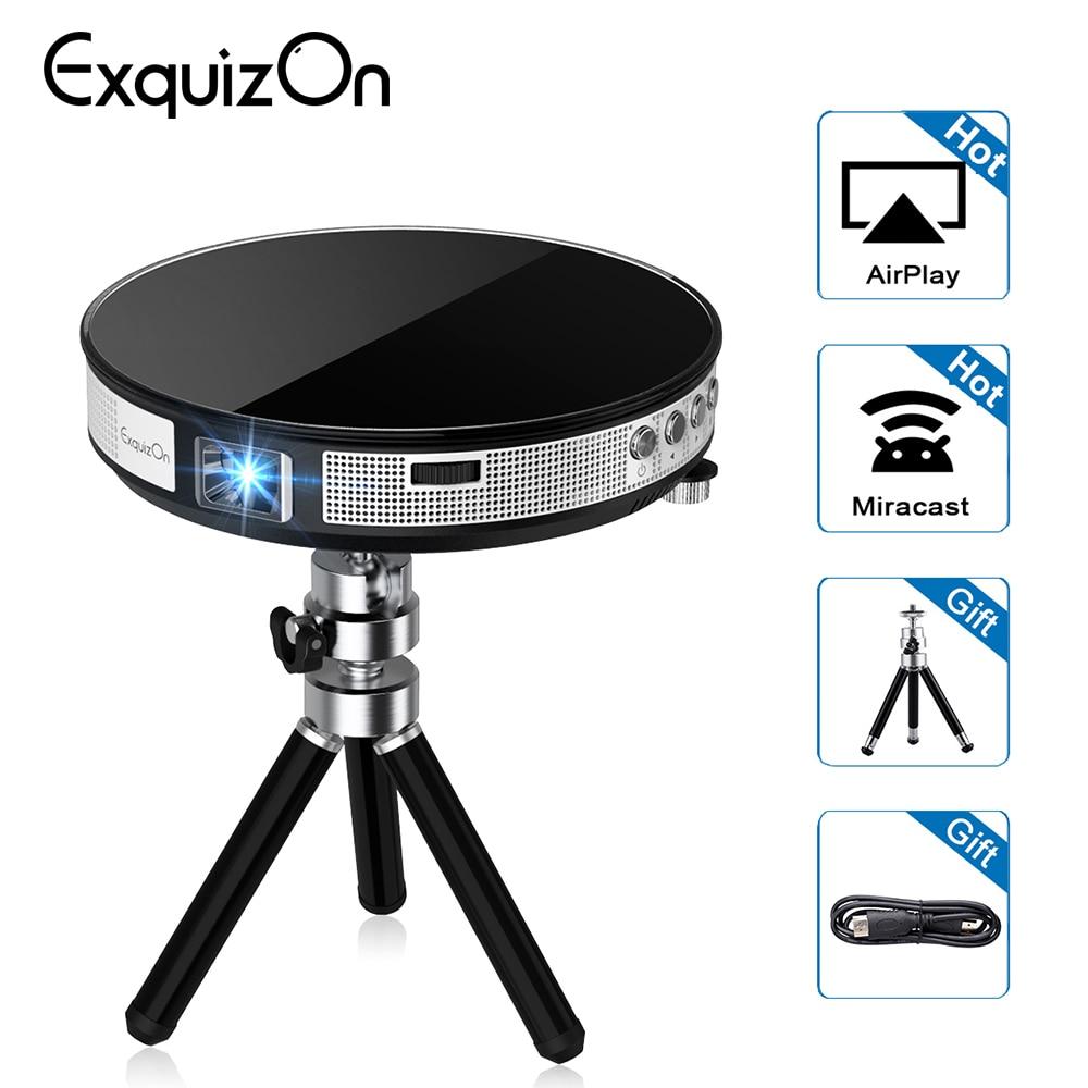 Exquizon UFO R6 projecteur DLP HD Miroir Sans Fil Wifi Mini led DLP Mini projecteur portable avec Batterie HDMI USB soutien 1080 P