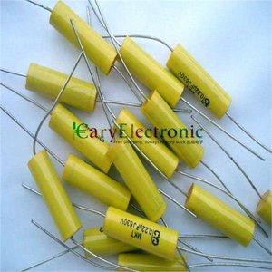 Image 2 - Bán buôn và bán lẻ dẫn dài màu vàng Axial Polyester Film Tụ điện tử 0.22 uF 630 V âm thanh ống fr amp miễn phí vận chuyển