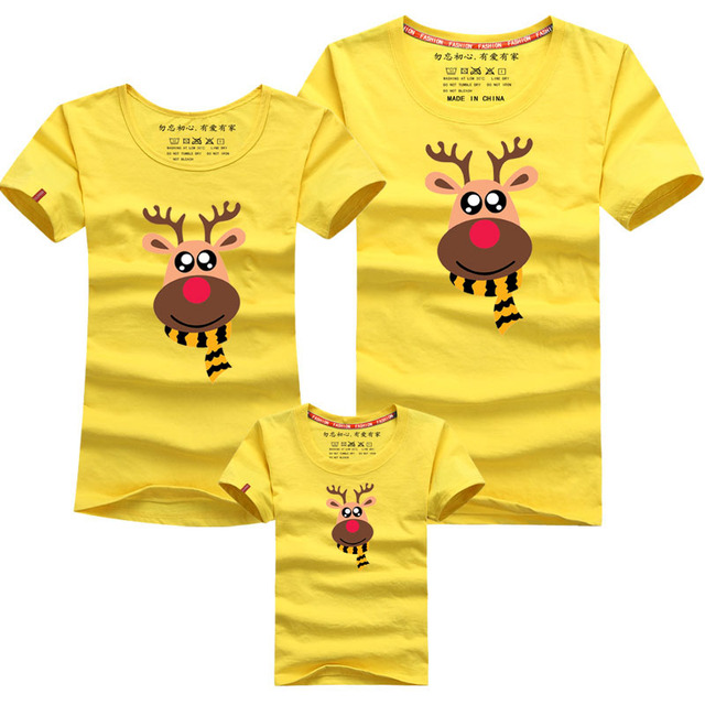 Family Look Family Matching Outfits T-shirt Matching Family Clothes Milu Deer Mother Father Baby Short Sleeve