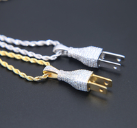 Top Quality Mens Iced Out Bling Bling Plug Pendant Necklace Gold Silver Color Pendant Micro Pave
