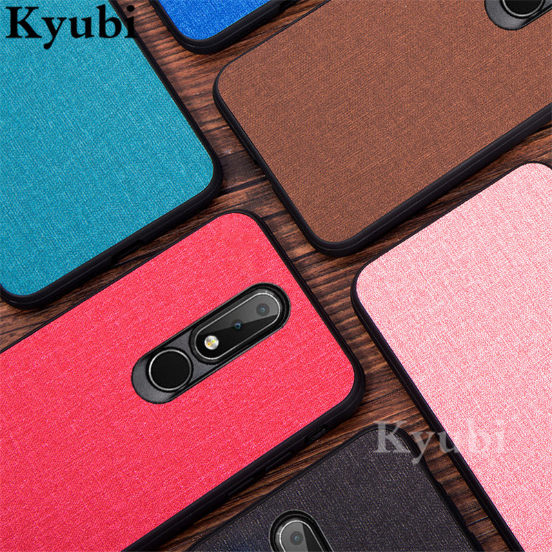 Luxury Phone Case For <font><b>Nokia</b></font> 9 8.1 X7 X6 Woven Design Cloth Fabric Phone Case For <font><b>Nokia</b></font> 7 <font><b>6.1</b></font> Plus Silicone Soft TPU Bumper Cover image