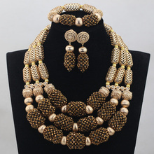 Luxuy Fashion African Costume Jewellery Sets Fantastic Coffee Brown Bridal Indian Jewelry Sets 2017 New Free Shipping ABH053