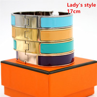12MM Luxury Stainless Steel Cuff Bracelets Bangles Wristband Enamel Bangle H Buckle Classic Brand Bracelets XP001