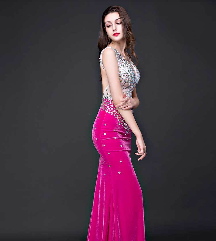 2017 Women Dresses Sexy Elastic Slim Elegant Mermaid Backless Party Club Robe Prom Gowns Womens Long Maxi Summer Pink Dress