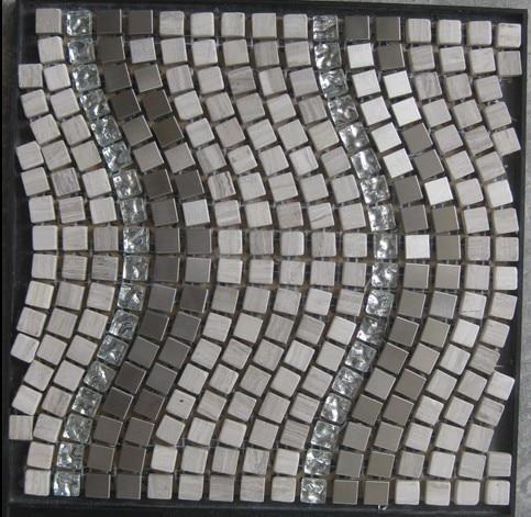 HotDesign Carrara White Marble Stone Crystal glass metal Mosaic <font><b>Tile</b></font> Wall Flooring Home Kitchen Bathroom decor wall <font><b>tile</b></font>,LSST015
