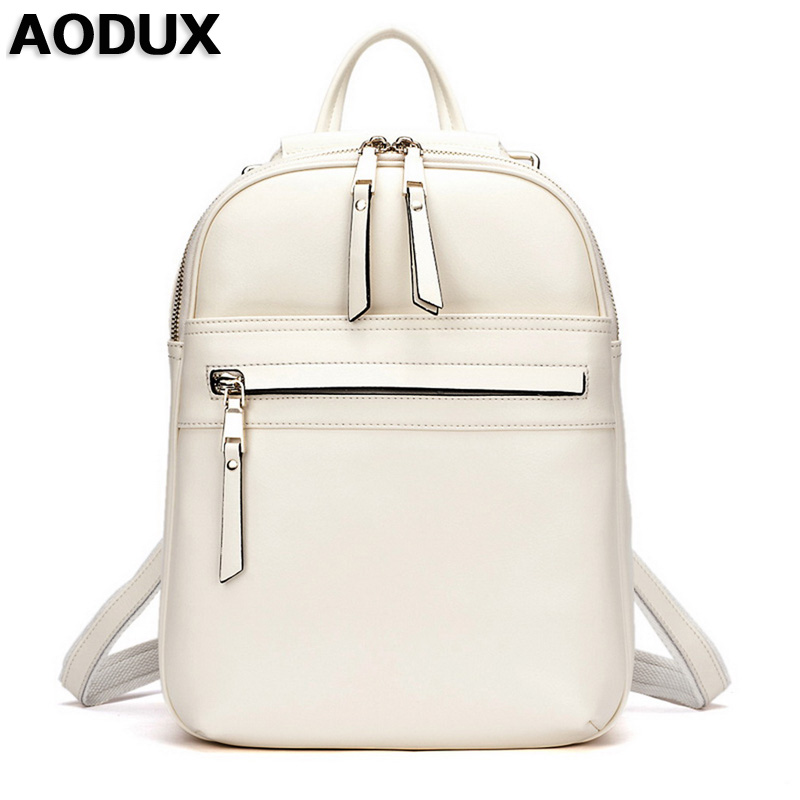 AODUX Top Quality Real Leather Backpacks Women Female Genuine Leather Backpack School Bags Beige/Dark Blue/Dark Red/Black Color zency genuine leather backpacks female girls women backpack top layer cowhide school bag gray black pink purple black color