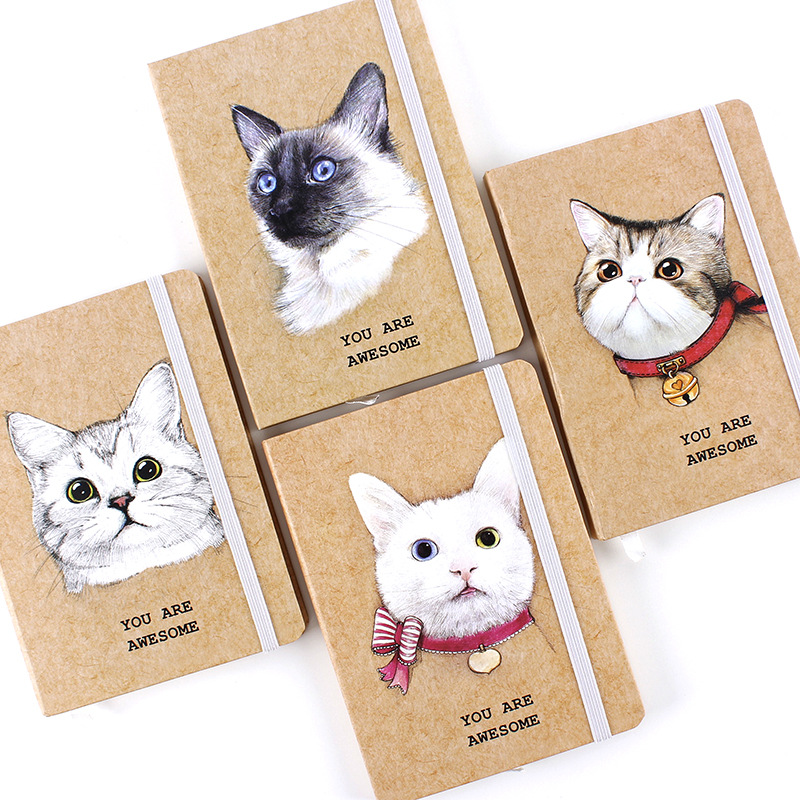 Awesome Cat Cute Hard Cover Lined Freenote Journal Study Diary Notebook Beautiful Journal