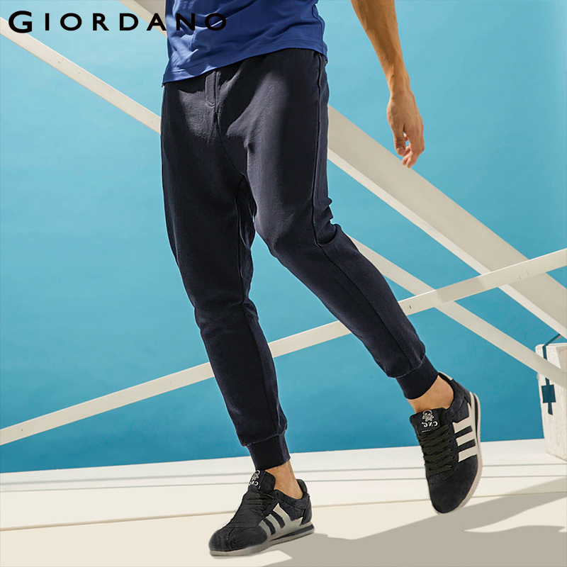 Giordano Men Solid Jogger Pants Waistband Drawstring 2017 Pants Pockets Plain Colors Narrow feet Brand Clothing