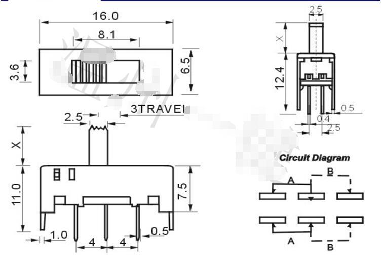 ∞10Pcs SS22H02 6 Pins PCB On-On 2 Position DPDT 2P2T Mini Slide ...