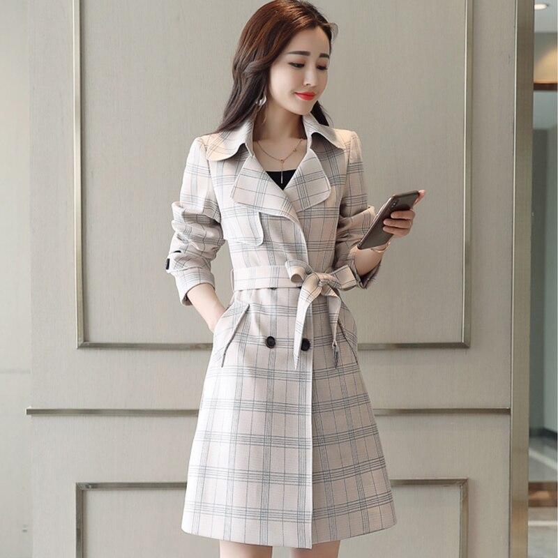 Ailegogo Women Fashion Slim Plaid Trench Coat New Spring Hig