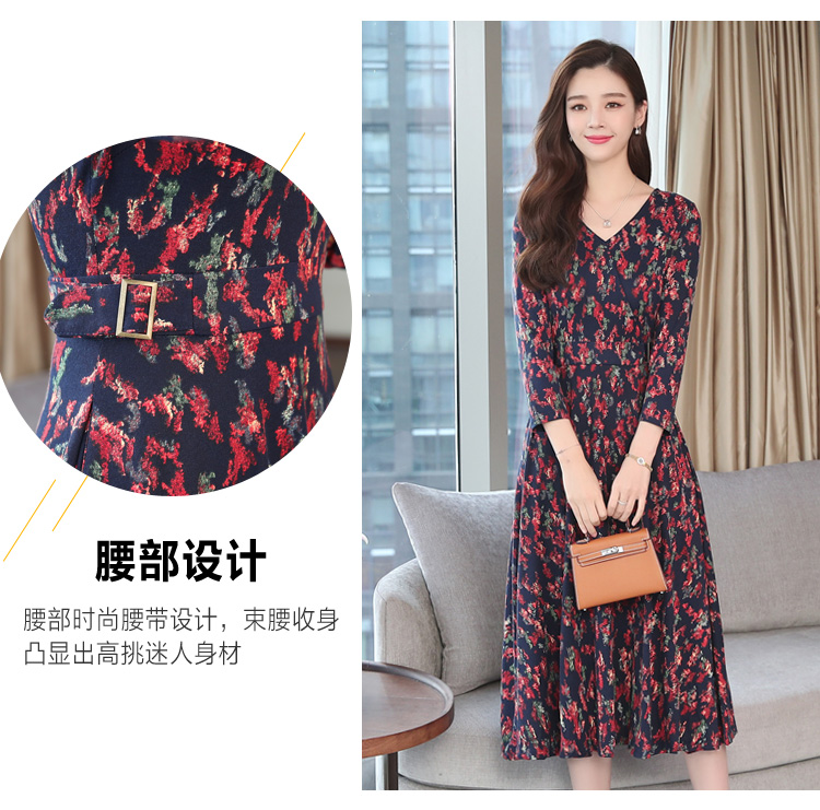 Autumn Winter New 3XL Plus Size Vintage Midi Dresses 2018 Women Elegant Bodycon Floral Dress Party Long Sleeve Runway Vestidos 15