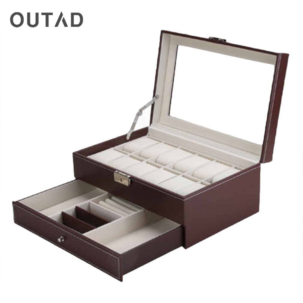 OUTAD 12 Grids Jewelry Casket Large Watches Box Leather Packaging Storage Gift Display Stand Holder Organizer Rack Case Hot jinbei em 35x140 grids soft box