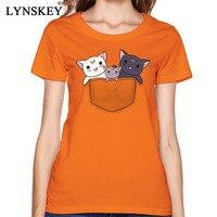 Funny Pocket Kitties Cats T Shirt Women High Quality 100 Cotton Breathable Fabric Tee Shirts Fashion