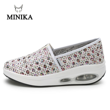 MINIKA Shoes Women Sport For Women Swing Wedges Platform Zapatos Mujer Double Air Trainers Slip On Feminino Toning Shoes стоимость