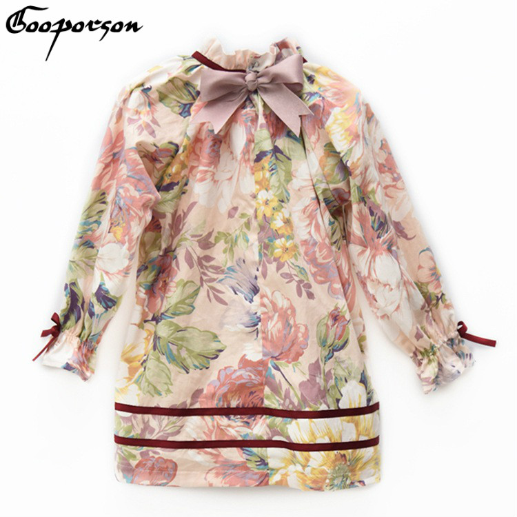 Girls Dress High Quality 100% Cotton Floral Vintage Long Sleeve Dress for Kids Girl Autumn Princess Dress with Bow 2018 Fashion vintage bow waist bubble dress