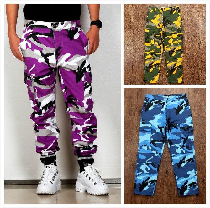 Color Camo BDU Camouflage Cargo Pants 2019 Men Women Casual Streetwear Pockets Jogger Orange Tactical Sweatpants Hip Hop Trouser 건달 조폭 옷