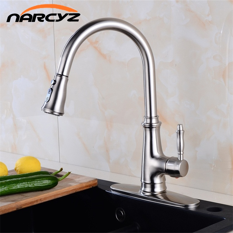 Kitchen Faucet Brass Brushed Nickel High Arch Kitchen Sink Faucet Pull Out Rotation Spray Mixer Tap Torneira Cozinha XT-55 xoxo kitchen faucet brass brushed nickel high arch kitchen sink faucet pull out 360 degrees rotation spray mixer tap 83014