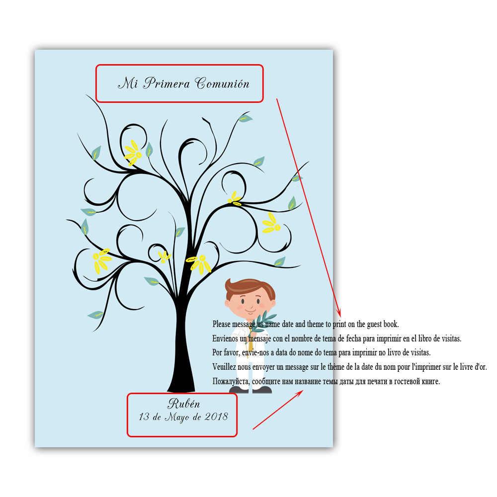 Бесплатная пользовательское имя Дата парусина принт DIY отпечатков пальцев Подпись Гостевая книга для первого Святое Причастие с мальчик держит Оливковая ветвь