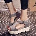 Estilo del verano 2016 sandalias de la plataforma zapatos mujer zapatos de tacón zapatos casuales punta abierta plataforma gladiador Trifle sandalias zapatos mujer
