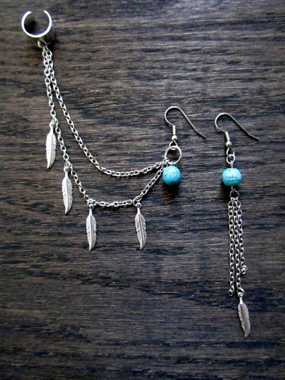 2016 Fashion  Bohemia  Resin Vintage Feathers Tassel Earrings Ear Clip B3xr Jewellery  F0031