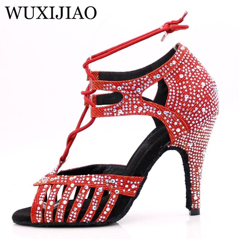 Image 2 - WUXIJIAONew Red and Glod Flash Cloth Salsa Dance Shoes Soft Bottom Latin Kizomba Tango Ballroom Dance Shoes Heel 6/7.5/8.5/10cm-in Dance shoes from Sports & Entertainment