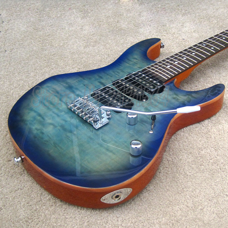Free Shipping Electric Guitar 2016 NEW ARRIVAL Flame Maple Top Deep Blue Guitarra Custom human free shipping new guitarra ricken