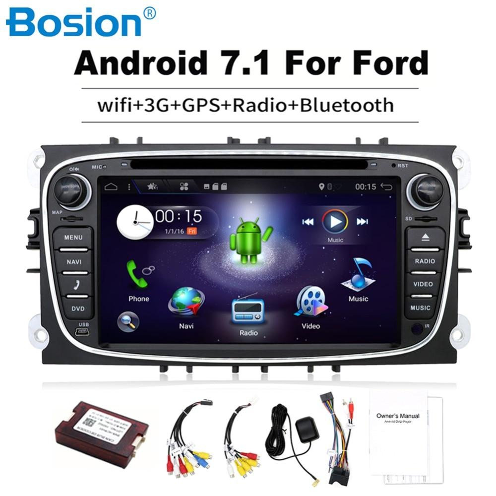 2 din Android 7.1 pour ford focus 2 lecteur dvd navigation gps Wifi radio caisson de basses DAB travail avec Convers +