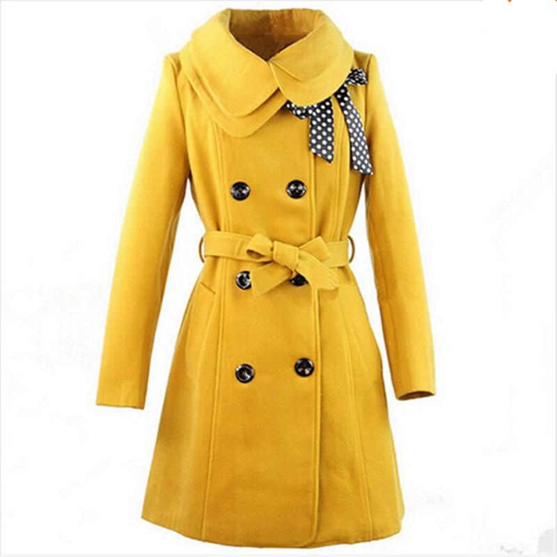Nouveau hiver Trench Coat femmes 2015 Long manteau en laine femme Bow Dot coupe-vent femmes manteaux ceintures Slim femme vêtements grande taille