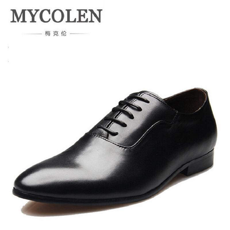 MYCOLEN Gentleman Men Shoes Leather Pointed Toe Male Dress Shoes Brand Luxury Men'S Business Classic Party Oxford Shoes 247 classic leather