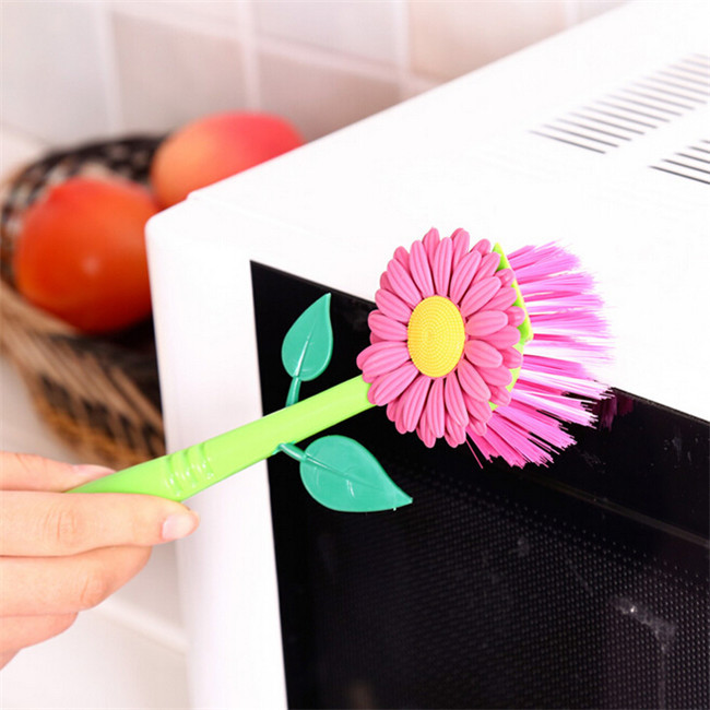 2016 hot sun flower kitchen cleaning brush pan pot brush 1 pcs multi bathroom plastic brush - Multi Bathroom 2016