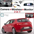 3in1 Especial Cámara de Visión Trasera + Receptor Inalámbrico + Monitor Del Espejo Sistema de Aparcamiento de copia de seguridad Para SEAT Leon 1 P 5F MK2 MK3 2006 ~ 2014