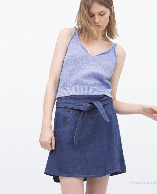 dee508a1d5a 9632/043 za 2015 Genuine Brand Fashion Summer Women's Denim Skirt with tie  bow belt