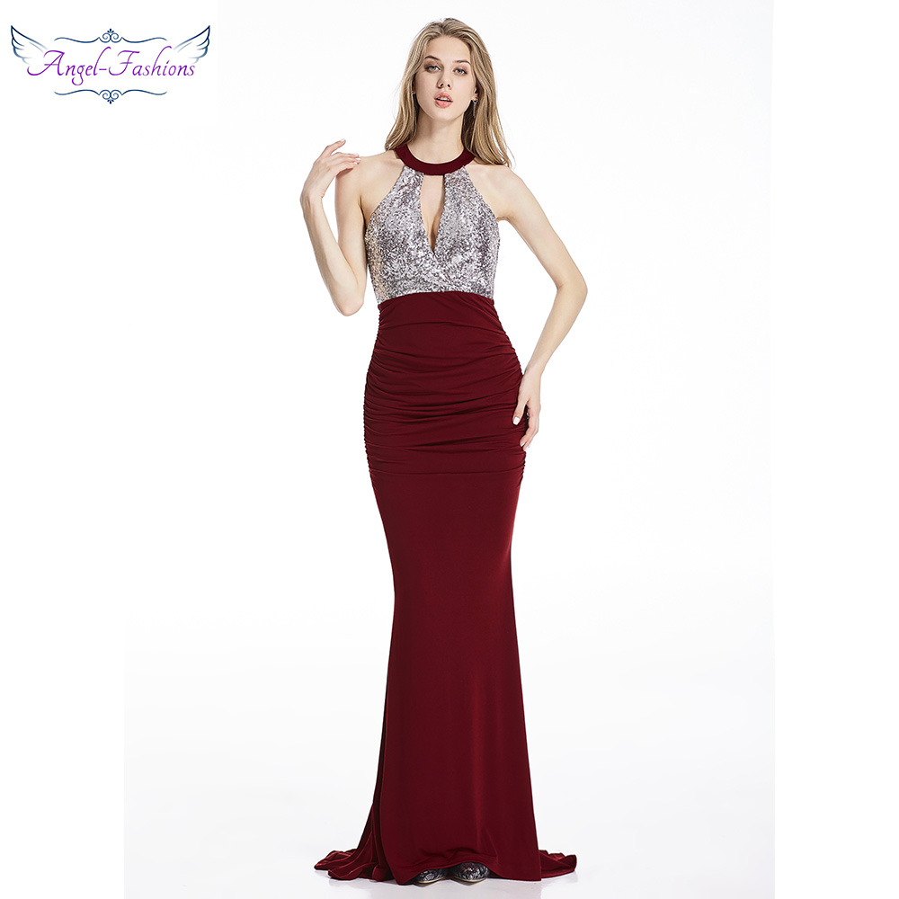 Angel-fashions Long   Evening     Dress   Hollow Out Key Hole Criss Cross Pleat Gown Burgundy 369