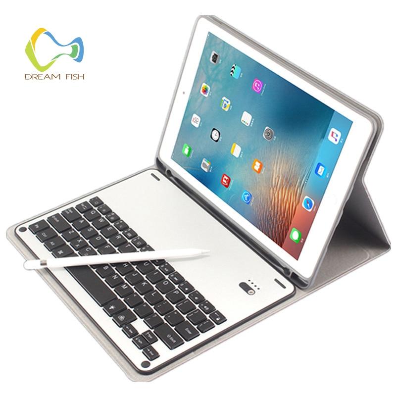 Coque pour iPad Air 2 étui détachable en aluminium Bluetooth clavier avec porte-crayons en cuir PU Smart pour pochette iPad